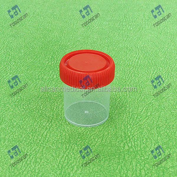 China manufacturer 60ml wide mouth urine container with colorful cap