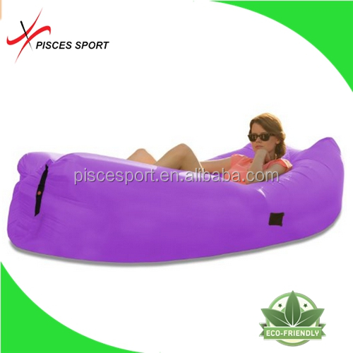 2016 hot selling 210D Nylon and PE lamzac hangout fast inflatable air sofa and sofa inflatable
