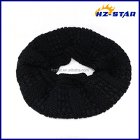 HZW-1382211 black color popular style fashion loop wholesale infinity scarf