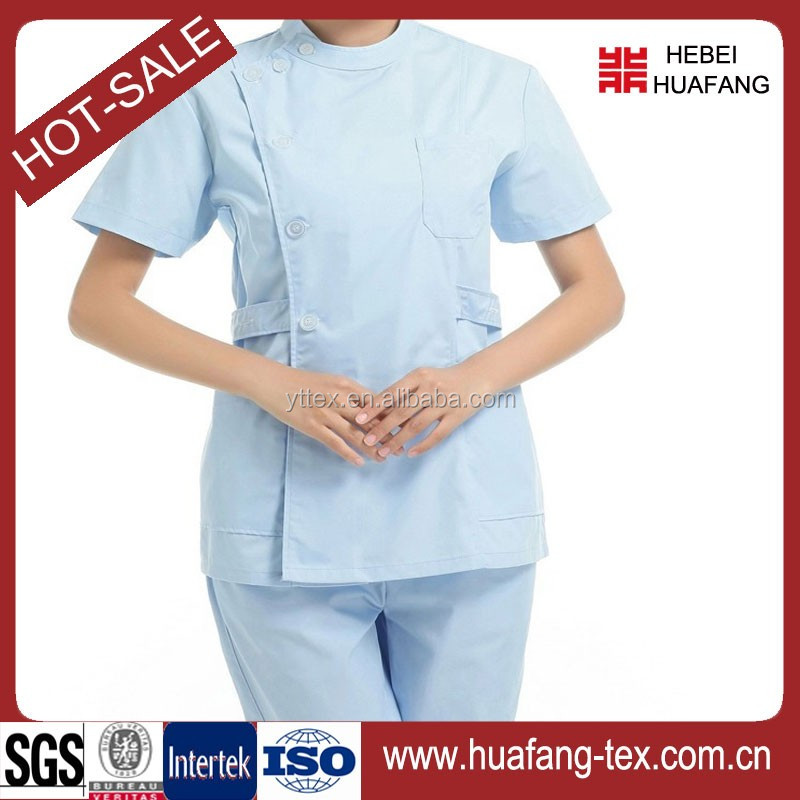 T/C white plain dyed nurse uniform fabric
