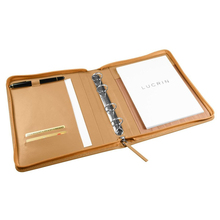 Business Notepad Holder and Ring Binder Included PU/Genuine Smooth Leather Cover A5 Leather Portfolio