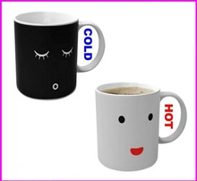 ceramic black and white face thermal mugs change color by hot water cups