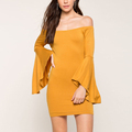 Import Clothing From China Kelly Bell Sleeve Off Shoulder Dresses Women Lady