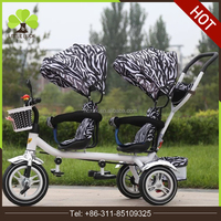 2017 Luxury Two seats baby tricycle / children bike for twins smart trike
