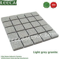 Light grey tumbled mesh cobblestone paver