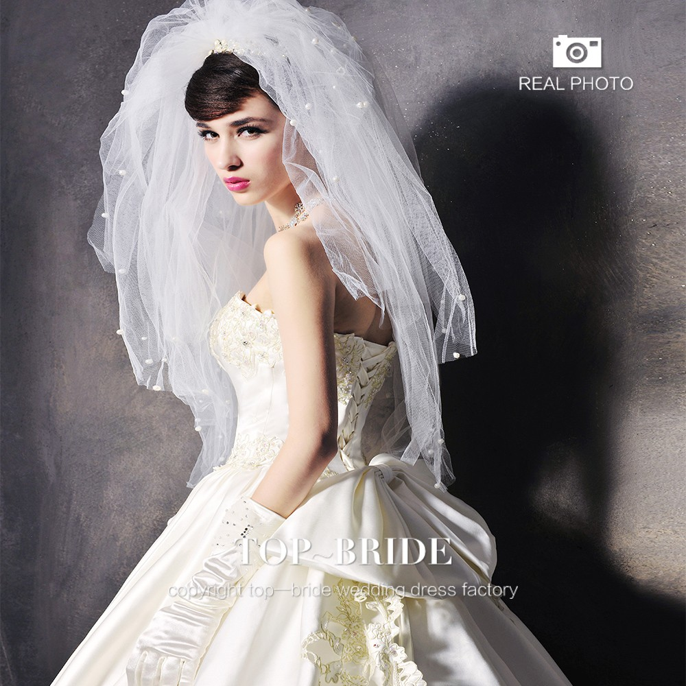 S1282 Luxury Real Beaded Embroidery Satin Crystal Wedding Dresses