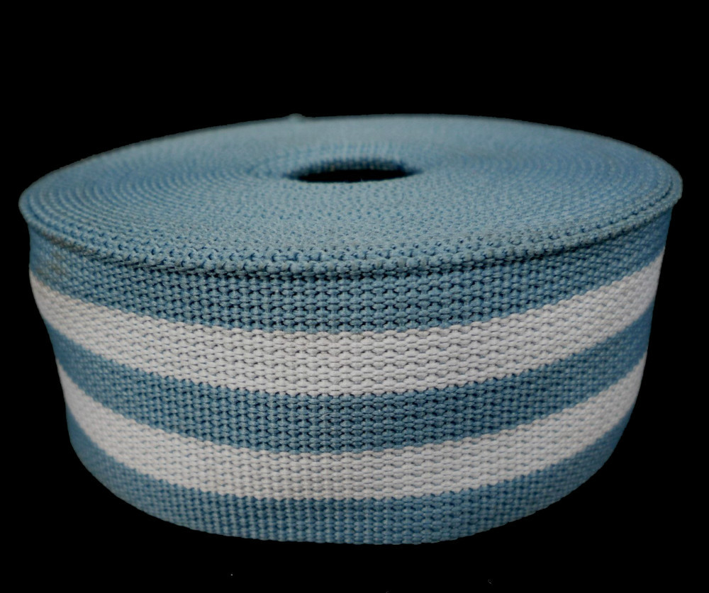 "Heavy Duty Light Blue White Stripe Grosgrain Ribbon Wrapping Binding Tape 1-3/16"" 3cm Thickness 1mm GR27"