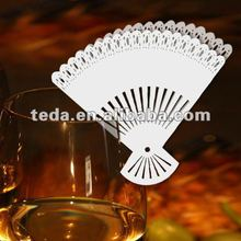 Hot 2012 White Paper Fan wedding place named cards
