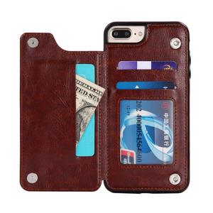 Universal Magnet Dual Layer Card Holder Slots Leather Wallet Cover Case for iPhone 7 8 Plus