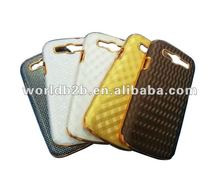 Chrome PC + Leather skin hard back case cover for Samsung Galaxy S3 i9300