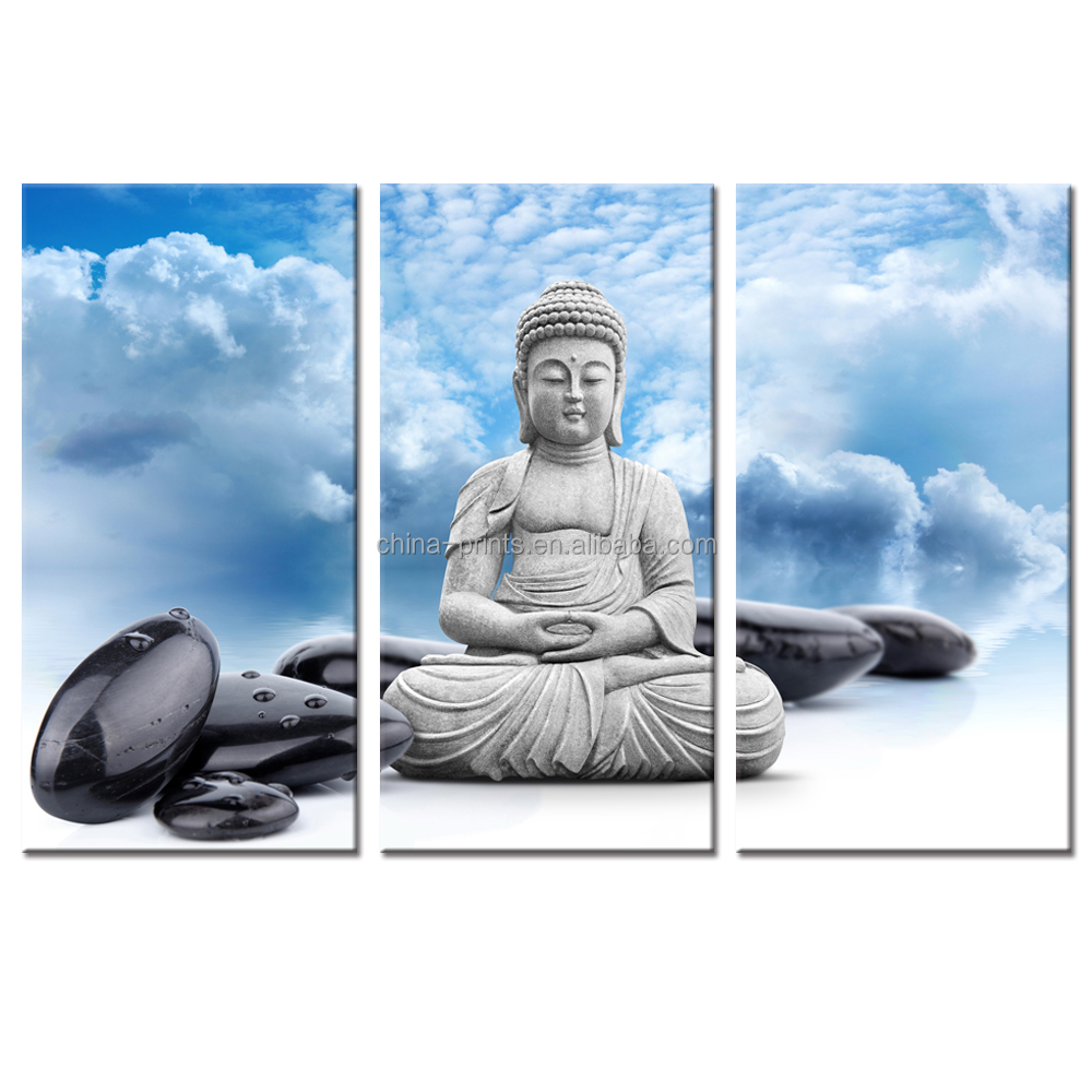 Buddha Canvas Wall <strong>Art</strong>,Blue Sky,Zen Spa Stone Picture Stretched on Wood Frame Wholesale Canvas Printing Artwork