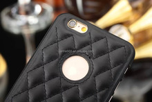 protective square PU+PC Combo lambskin leather cheap cell phone cover cases fit for iphone 5/5s 6/6s 4.7 inch