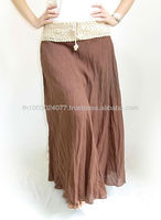 Brown Long Cotton Skirt With Crochet Waist Thailand
