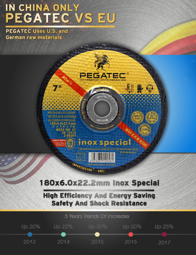 PEGATEC 180x6x22.2mm T27 Depressed Center Stainless Steel Grinding Disc