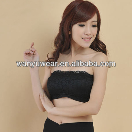 Factory Provide Seamless Padded Lace Tube Top, Lace Bra