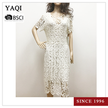 Classy White Lady Lace Dress Sexy Women Short Sleeve Lace Cover Up Crochet Summer Beach Dress