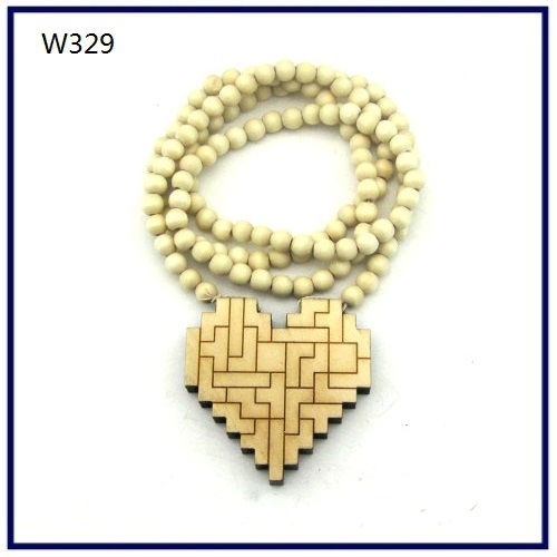 Wood Necklace Hip hop Wood Color Heart wall Beaded Fashion rosary Factory price W329