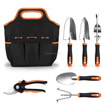 7 Piece Garden Tools Set Stainless Steel Non Slip Gardening Pruning Tote Bag Kit