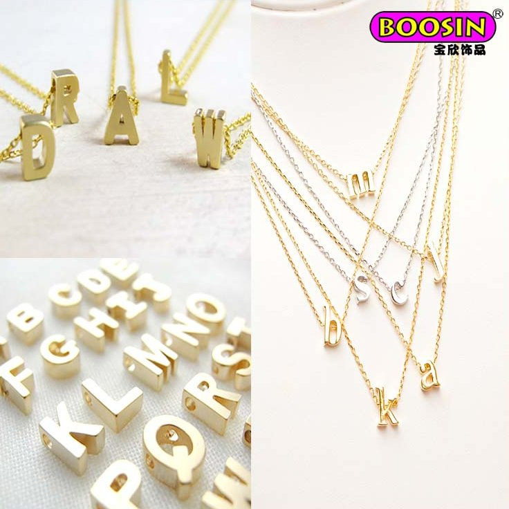 Factory new custom made gold initial alphabet personal letter necklace for women