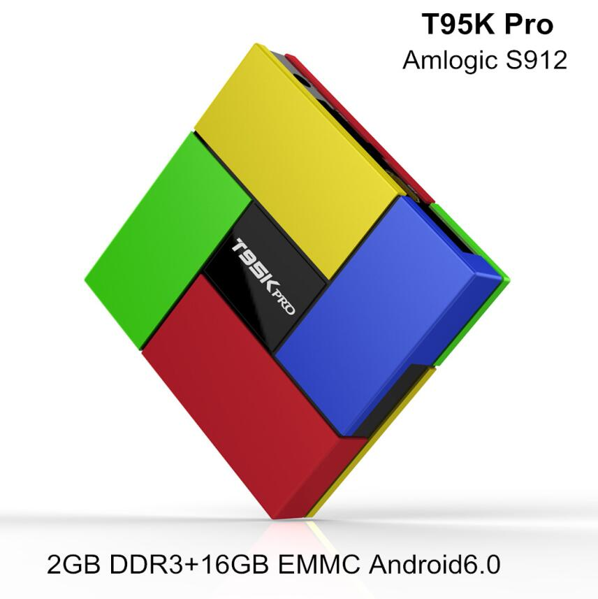 Pure Version T95K Pro Android TV Box S912 Android 6.0 2GB RAM 16GB Flash Octa-core WiFi 2.4+5G smart tv box Support 4K / 3D /HD