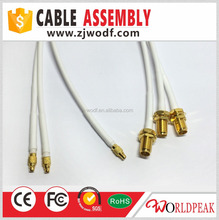 customized cable assembly mmcx to sma female bulkhead for RG316 with white heat shrinking tube jumper cable