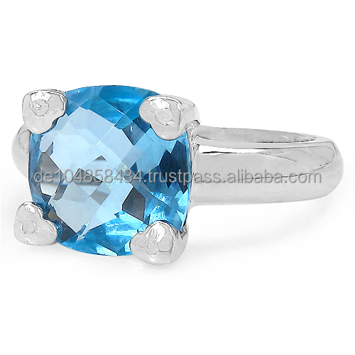 Genuine Gemstone and Diamond Ring in 925 Sterling Silver with Rhodium Finish