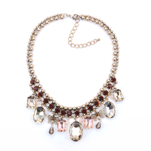 Crystal Stones Statement gold chain necklace Fancy handmade bohemian jewelry charm statement necklace