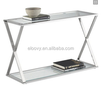 Glass top stainless steel coffee table legs