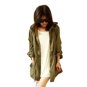 Hot Sales Army Green European Styles Women Trench Wind Coat With Detachable Hood