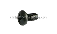 Carbon steel Pan head screws with cross drive Black oxide DIN7985