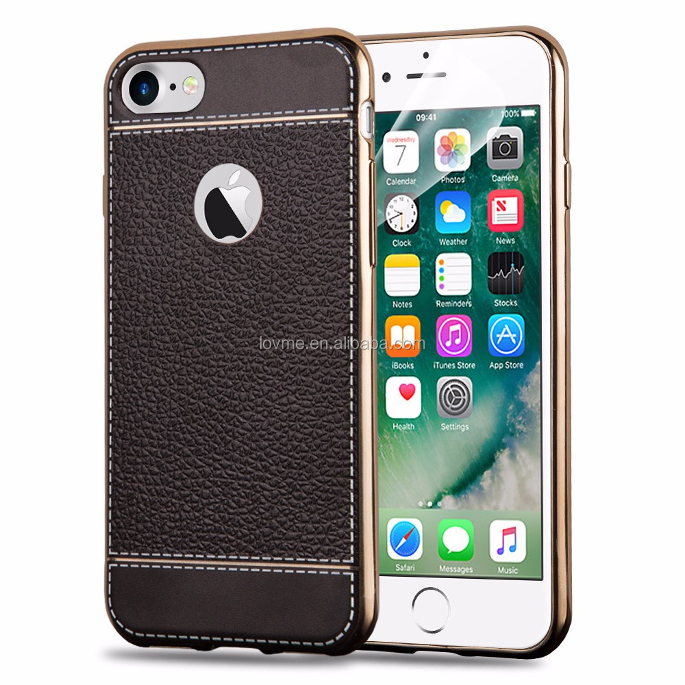 Unique design dustproof lichee pattern electroplating cell phone tpu case for iphone 7