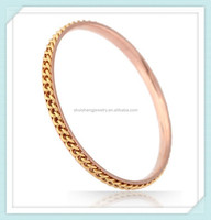 Yiwu factory direct price stainless 24k gold bangle dubai jewelry with gold chain
