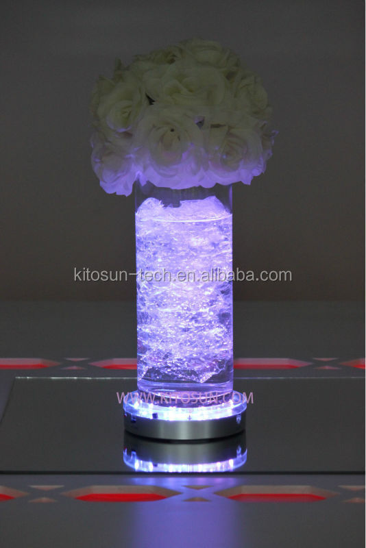 Multi-color Under Vase Table Light Wedding Stage Decorations/Thanksgiving day/Christmas , Remote Controlled Round Led Light Base