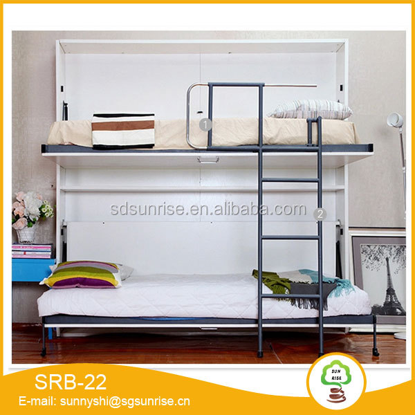 Good looking modern folding double bunk wall bed in wooden