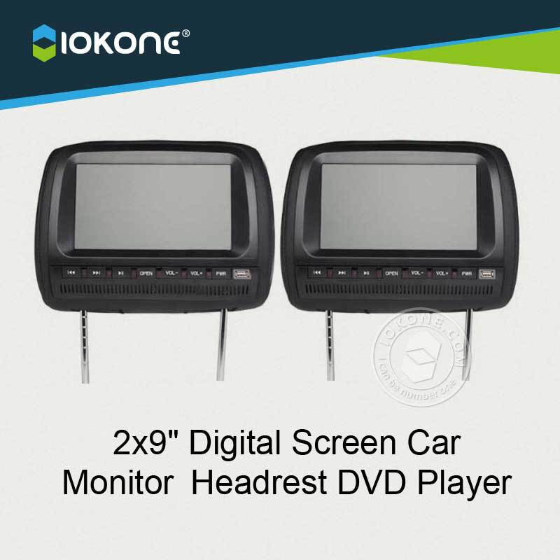 "IOKONE 9"" Inch Wide Screen Auto Car Headrest Head Rest DVD Player TFT LCD Monitor With Touch Screen Game USB SD Remote Control"