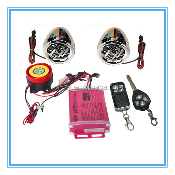remote start anti-theft motorcycle mp3 alarm with speech