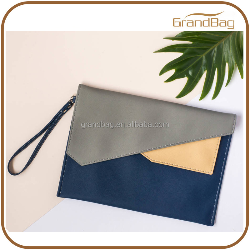 fashion contrast color lady hand tablet bags genuine leather women clutch bag case for ipad