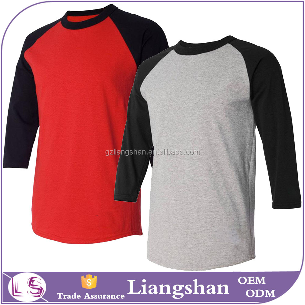 2016 OEM factory wholesale man 3/4 sleeve t shirt baseball t shirt raglan jersey mens tee