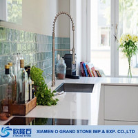 Man-made Pearl White Stone Kitchen Countertop Quartz Slab