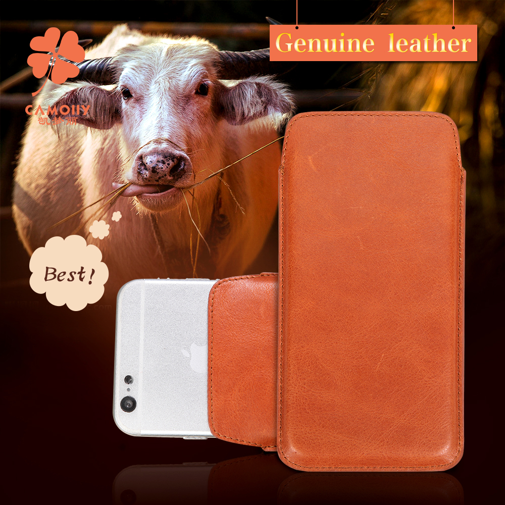 2016 new style concise design brown leather cover case sleeve for iphone 6S mobile accessory factory