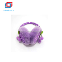Fancy Purple Dot Pattern Earmuff With Cherry