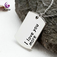 Jenia I Love You More 18K Gold Plated Necklace Dog Tag Pendant