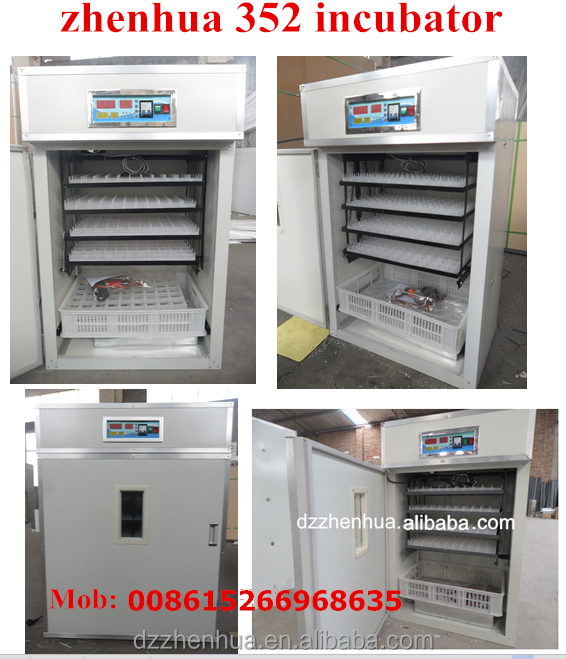 Zhenhua Brand 352 Eggs Small/Large Capacity Industrial egg incubator(Paul:0086-15266968635)
