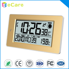 Blue backlight dcf radio controlled clock for promotion with weather station