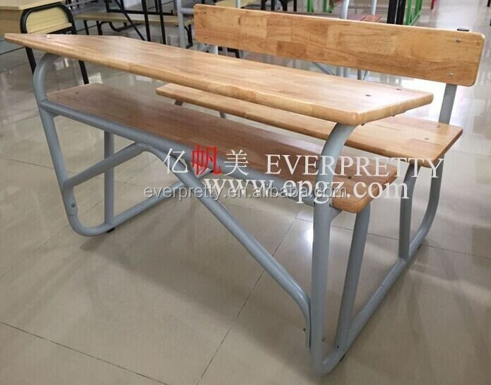 School double table with benches, wood school study table chairs, cheap student 2 seater table