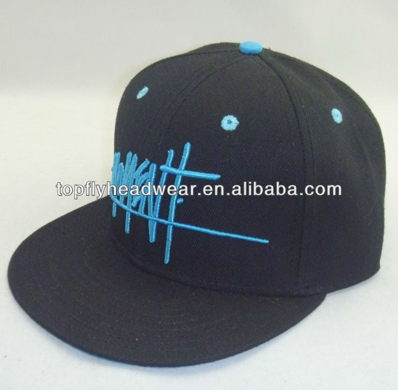 Black acrylic simple round visor double buckram snapback cap and headwear and fashion sports cap