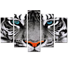Wholesale Canvas Prints HD Tiger Photo Canvas Prints Wild Animal Canvas Printing Home Decor Wildlife Giclee Artwork 5 Panels