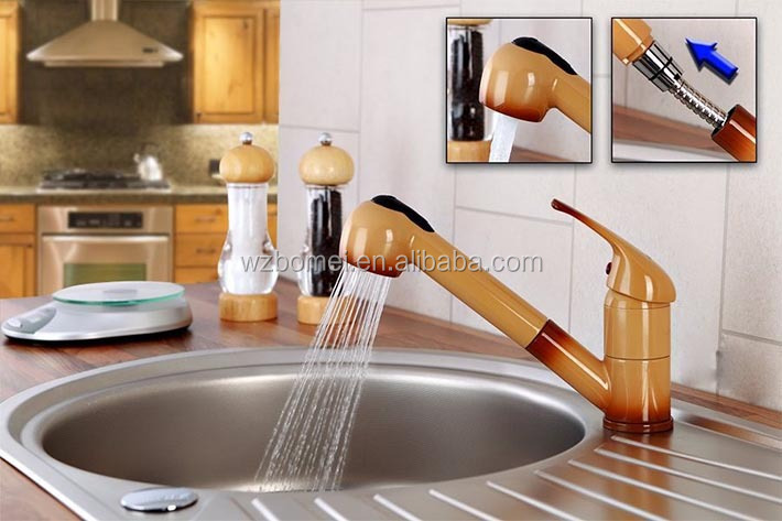 Painting mixer pull out sink tap kitchen faucet with spray spout