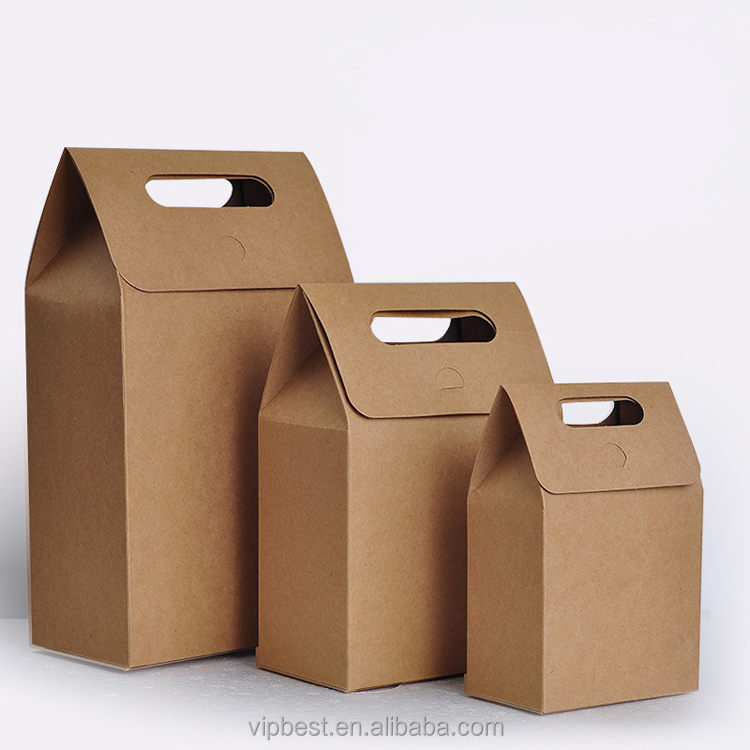 Enviromental Bakery Tea Food Biscuit Snack Brown Packaging Bag Kraft Paper Box