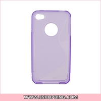 High Transparent Glue Cover Skin Case for iphone 4G Purple